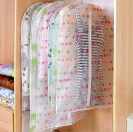 Hanging Plastic Wardrobe Canada - hanging dust cover wardrobe storage bags semi-transparent waterproof PEVA clothing storage bags cute clothes garment bag organizador storage