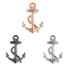 Top sTickers online shopping - Black Silver Gold Top Quality Boat Anchor Solid Zinc Alloy Car Styling Emblem D Sticker Grille Cool Exterior