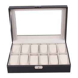 12 Slot Display Case Canada - Professional 12 Grid Slots Jewelry Watches Display Storage Box Case Inside Container Organizer Box Holder caixa relogio