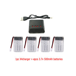 3.7v lipo charger 2021 - wholesale RC Battery Charger 4 In 1 1pc X4 and 4pcs 3.7V 500mAh Lipo Battery for RC quadcopter Drone battery parts
