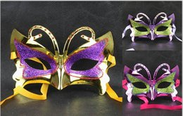 $enCountryForm.capitalKeyWord Australia - Venetian Women & Girls Glitter Butterfly Mask Mardi Gras Masquerade Mask Party Masks Assorted Colors One Size Fit For Most