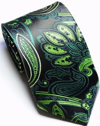 $enCountryForm.capitalKeyWord Canada - Brand New Classic Paisley Black Green JACQUARD WOVEN Silk Men's Tie Necktie csw86