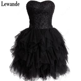 Barato Rendas De Renda Preta Vestidos Curtos-Lewande Black Lace-up A-line Short / Mini Tulle Sweetheart Strapless Lace Beading Tiered Sleeveless 2017 Homecoming Vestidos