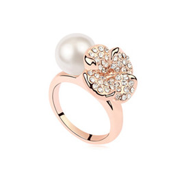 lover gift china UK - Lovers' Gifts High End Fine Jewelry Accessories Import Austrian Crystal Clover Flowers Pearls Cocktail Fingers Wedding Bands Rings For Women