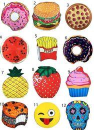 Emoji Towels NZ - Hot New 13 Designs Round Beach Towel Pizza Hamburger Skull Ice Cream Strawberry Smiley Emoji Pineapple Watermelon Shower Towel Blanket Shawl