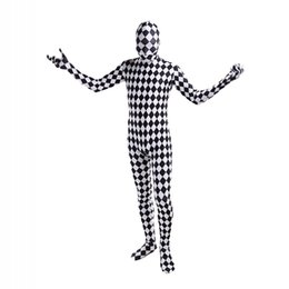full body cosplay Australia - Black and White Lattice Lycra Cosplay Costumes Unitard Spandex Full Body Zentai Catsuit For Halloween