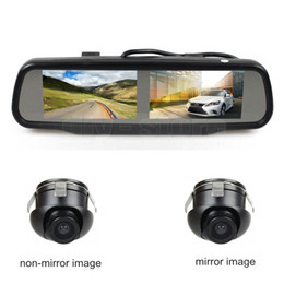 Camera side Car online shopping - Double inch Screen Rearview Mirror Car Monitor with x CCD Car Rear View Camera for Rear Front Side View Camera
