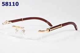 Barato Quadros De Madeira Sem Aro-New Men Women Fashion Wooden Rimless Optical Eyeglasses Frame Top Quality Retro Spectacle Optical Glasses Frames With Box