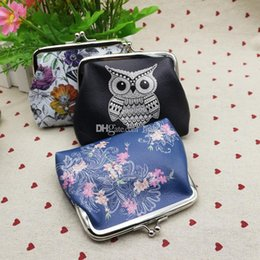 Discount owl christmas gift bags Fashion Student purse Butterfly Owl Bird Flower Elephant birdcage PU Hasp wallet Girls Coin Bag lady Pouch Purse Wallet