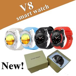 Discount v8 smart watch green black - Latest V8 Smart Watch Round Face Smartwatches with Bluetooth Music Player for android & IOS cellphone with Micro Sim TF