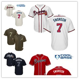 new style 52bbe 88418 braves 7 dansby swanson navy blue cool base stitched youth ...