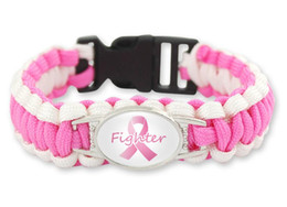 Camping Bracelets Canada - hot selling (100 PCS lot) 7pcs colors Pink Breast Cancer Fighter Hope Ribbon Awareness Paracord Bracelets Blue Yellow Black Outdoor Camping