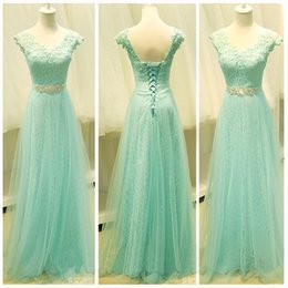 Barato Comprar Vestido Azul Royal-Compre 2017 New Gogerous Long Andar Comprimento A-Line V-Neck Organza Mint Green Prom Dresses Sexy Back Lace Up Evening Dresses