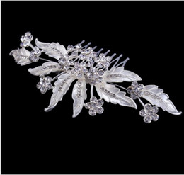 leave hair comb NZ - High-end Flower Hair Accessories Long and the bride full diamond shining diamond Silver Tiara Comb dinner leaves Headdress