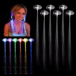 Glow Party Decorations Canada - 6pcs lot Colorful LED Wigs Glowing Flash LED Hair Braid Clip Hairpin Decoration Ligth Up Show Easter Party supplies Christmas
