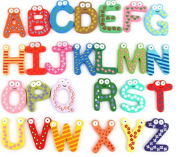 fridge word magnets NZ - Fridge Magnet Child Colorful 26 Letters shape Learning Wooden Magnetic Toddler Children Toys 26 Words Study Alphabet