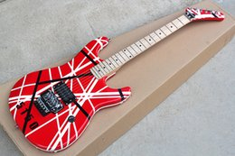 Guitars online shopping - Hot Sale Factory Custom Electric Guitar with Red Body Black and White Lines Cross Floyd Rose Can be Customized