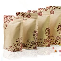 kraft paper zipper foil Australia - 100Pcs Lot Stand Up Kraft Paper Aluminum Foil Zipper Top Packing Bags W  Hang Hole For Raisins Coffee Storage Packaging Bag