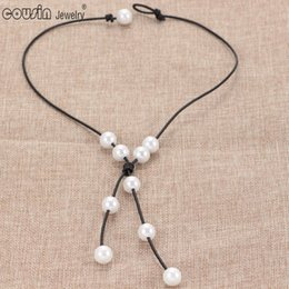 $enCountryForm.capitalKeyWord Canada - XL0032m New Pearl Handmade Single imitation Pearl leather necklace on Genuine Leather Cord for Women Pearl Jewelry
