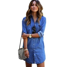 ba7d151ac56 Plus Size Elegant Jeans Dress Casual Blue Loose Denim Dress Short Women  Summer Street Style Casual Party Denim Dresses WT40111
