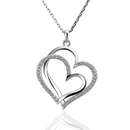 Best Wedding Pendant Australia - Best gift White Gold White crystal jewelry Necklace for women DGN498,Heart 18K gold gem Pendant Necklaces with chains