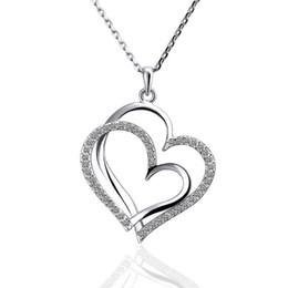 Melhor presente Branco de Ouro Branco colar de jóias de cristal para as mulheres DGN498, Coração de ouro 18 K Pingente Colares com correntes venda por atacado