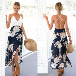 Barato Casual Maxi Vestidos Para Meninas-Backless Floral Print Chiffon Dress Patchwork Lace V Neck Open Back High Low Beach Summer Meninas Casual Long Maxi Alto baixo Vestido