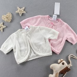 Barato Blusas De Malha-Everweekend Girls Baby Knitted Cardigan Sweater Jackets Rosa e Branco Color Crochet Spring Fall Cape Outwear