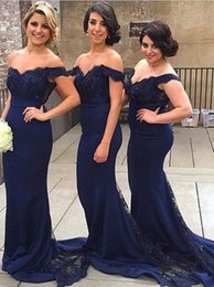 Customized embroidery online shopping - V neck Off shoulder Dark Blue Sweetheart Mermaid bridesmaids dress y Sheath elegant Evening formal gowns modest evening dresses