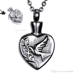 peace dove jewelry Canada - high quality openable Stainless Steel Memorial Cremation peace dove Heart Ashes Urn Pendant Necklace Keepsake Men Women Jewelry urn Necklace