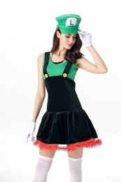 japanese cosplay adult Australia - 2017 Halloween Costumes for Women Cosplay Adult Super Mary and Mario Clothes Female Strap Skirt Stage Dress Costume.