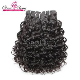 Großhandel Greatremy® 8A Wasserwelle Brasilianisches Haarverlängerungs-großes lockiges 100% unverarbeitetes reines Menschenhaar-Bündel 3pcs / lot färbbarer Ozean-Haar-Webart-Schuss