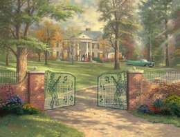 Discount floral oil paintings - Graceland 50th Anniversary Thomas Kinkade Oil Paintings Art Wall Modern HD Print On Canvas Home Decoration No Frame