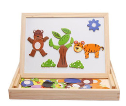 Magnetic Puzzle Boxes NZ - Wooden ball animal fight fight magnetic multi-functional double-sided drawing board learning box three-dimensional puzzle wooden building bl