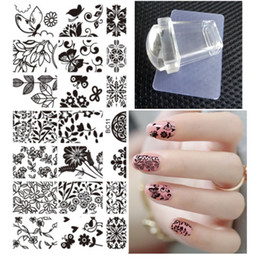Chinese  Wholesale- DIY Polish Templates Nail Tools Flower Bird Nail Art Stamp Template Image Plate Square Clear Jelly Stamp Scraper Set 2016 New manufacturers