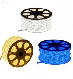 NEW 2835 60LED 220V Led Strip Light Red Yellow Blue Green White Waterproof LED Light IP65 Flexible Ribbon For Home MYY on Sale