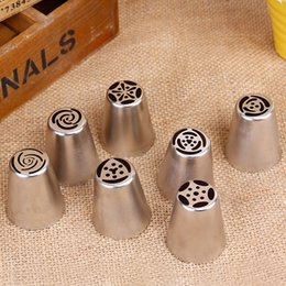 wholesale 7 pcs cream stainless steel russian icing piping nozzle for polishing pastry tools cupcake tips kitchen accessories