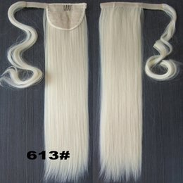 real hair ponytails NZ - Wholesale-Blonde 22INCH Long Straight Ponytail Pony tail Clip In Hair Extensions Real Natural Hairpiece 47Colors