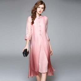Pure Silk Clothing Canada - 2017 jasmine spring woman clothing new pattern sexy loose relax fashion Chinese style Revised cheongsam Pure silk, fake two woman T-shirt