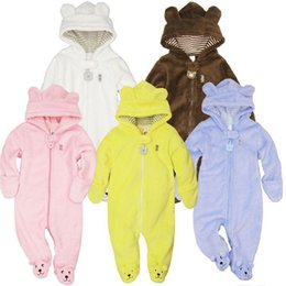 Barato Macacões De Lã De Bebê-Venda Por Atacado Autumn Winter Baby Rompers Bear Style Baby Coral Fleece Brand Hoodies Jumpsuit Baby Girls Boys Romper Newborn Toddle Clothing