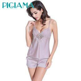 77ddc2c1b0 Wholesale- PIGIAMA Women Pajamas Sexy Pyjama Set Nightsuit Lace Silk Straps  Bathrobe Women Sleepwear Shorts Pijamas Homewear