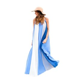 Barato Longo Maxi Vestido Chiffon Caqui-Blue Stripped Summer Beach Dresses Sexy Chiffon Long Maxi Dress Sem mangas elegante Backless Sem mangas Loose Khaki Sundresses