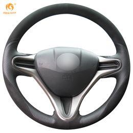 $enCountryForm.capitalKeyWord NZ - Mewant Black Leather Black Suede Car Steering Wheel Cover for Honda Fit 2009-2013 City Jazz