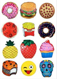Discount ice blanket - Round Beach Towel Pizza Hamburger Skull Ice Cream Smiley Pineapple Watermelon Round Shower Towel Blanket Shawl Polyester
