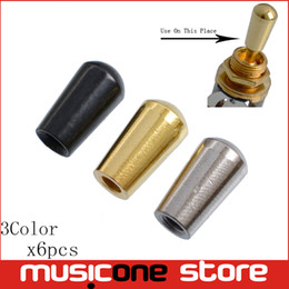 Gold Switches Canada - 6Pcs Brass Toggle Guitar Switches Knob Tip Buttons Cap for Electric Guitar - Chrome - Black - Gold - Internal Thread 3.5mm
