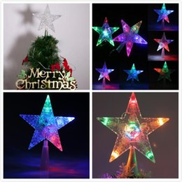 wholesale colorful changing christmas xmas tree topper star light led lamp indoor outdoor decoration from - Best Christmas Tree Toppers