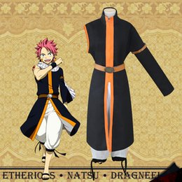 Barato Traje Da Cauda De Fadas Do Anime-Fairy Tail Etherious Natsu Dragneel Cosplay Costume Third Generations Black Long Trench Clothes Pants Halloween Party Wear