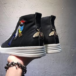 full color printing leather Canada - Luxury New Mens High Top Shoes Magpie Bee Ankle Genuine Leather Flat Heels Casual Sneaker Trainers Boots Italian Size 38-44