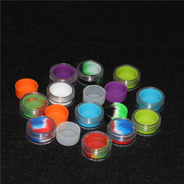 $enCountryForm.capitalKeyWord Canada - 100pcs Acrylic silicon container 5ml wax concentrate make up silicone containers box food grade ABS makeup case dab dabber jars tool storage