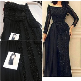 imported evening dresses Australia - Black Arabic Dubai Evening Dresses Long Sleeve Major Beading Floor Length Scoop Formal Prom Gown Imported Party Dress for Women Cheap